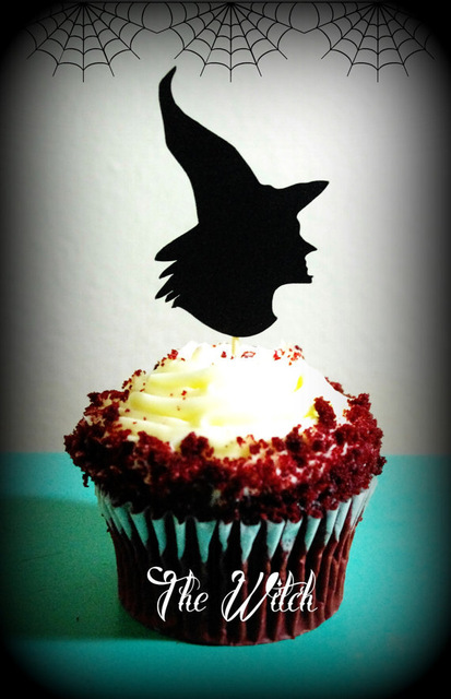 Witch Scary Cupcake Toppers Halloween Appetizer Pick Party Baby