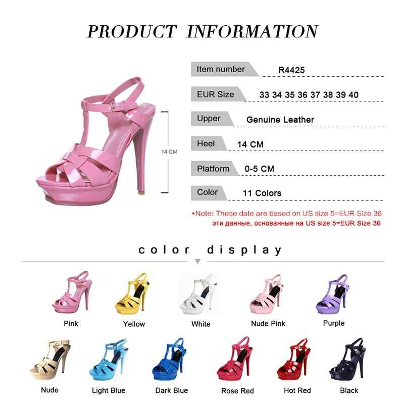 Kemekiss Gratis Verzending Kwaliteit Echt Leer Hoge Hak Sandalen Vrouwen Sexy Schoenen Mode Dame Schoenen R4425 Hot Koop 33-40