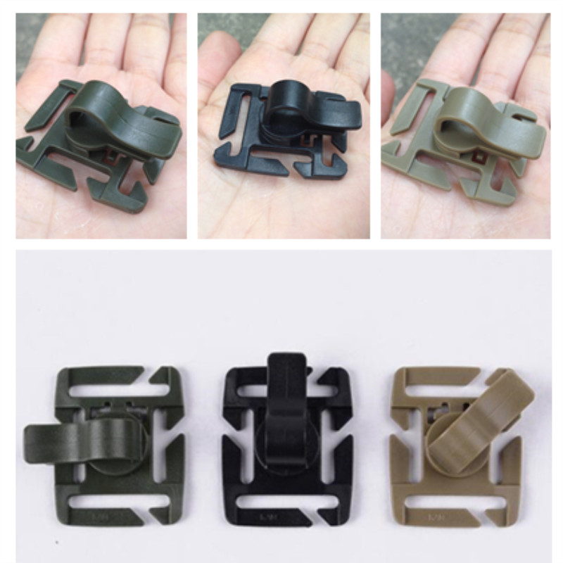 2pcs Tactical Bushcraft Rotatable Molle Drinking Straw Tube Trap Hose Webbing Clip For Water Pack Bag Backpack Climb Accessory