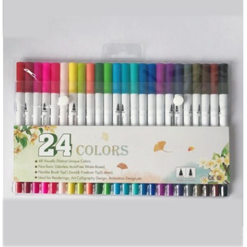 24 36 48 double headed marker color hook line pen beginner soft head watercolor pen adult painting set art supplies in Crayons from Office School Supplies