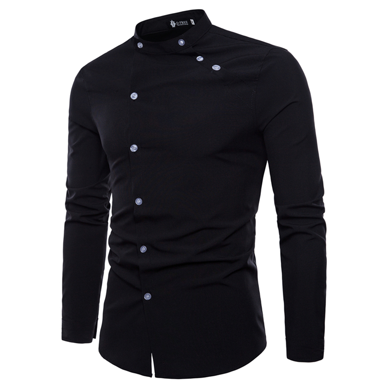 2018 Spring Autumn Men Dress Shirt Camisa Masculina Casual Fashion Tailored Double Placket Design Men Slim Fit Social Shirts