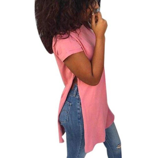 2017 Долго Стиль майка Женщины Моды Причинно Свободные Сплит твердые Woment Топы Лето 2017 Ladies Девушки Футболка Camisas Femininas Е.