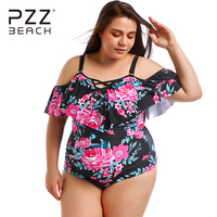 Plus Size Swimwear Ruffle Off Shoulder Bikini Push Up Lace Up One Piece Swimsuit Large Size Bathing Suits Floral Print Beachwear