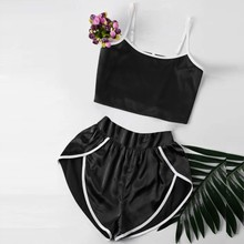 7a77adfd3 Solid Sexy Pajamas Sets On For Women Cute Lingerie Satin Nightwear Loose  black