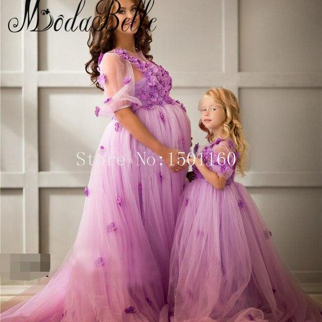 6a1e34042058c Arabic 3D Floral Flowers Mother Daughter Evening Dresses Tulle Floor Length Formal  Dress For Pregnant Women