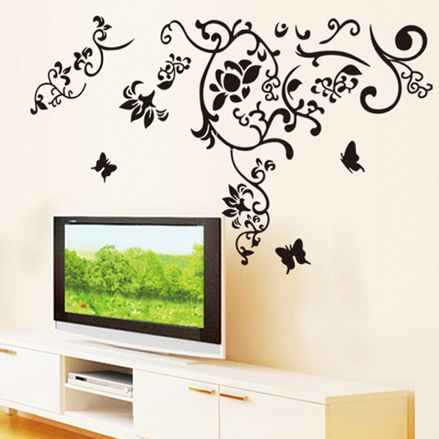 Black leaves flowers butterflies wall decal home sticker paper art picture diy murals kids nursery baby