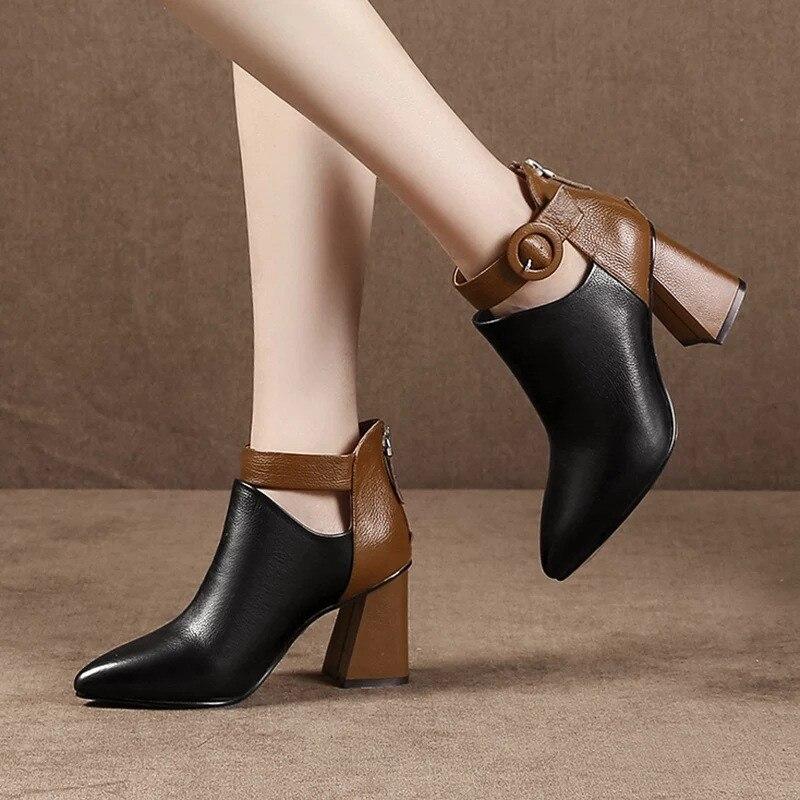 Hebilla Botas Tacón Oficina Mujer Mantener Moda Corta 2018 Negro Vaca De Alto Zanpace Invierno Calientes Felpa Cuero Zapatos nHqZdaXxg
