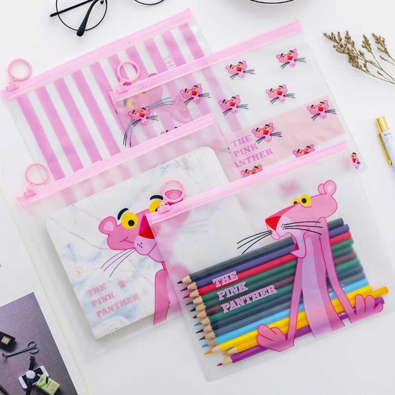 Розовый кольцо Леопард Карандаш Чехол Канцелярские и школьные принадлежности Высокое Ёмкость Пластик карандашная сумка 1 шт.
