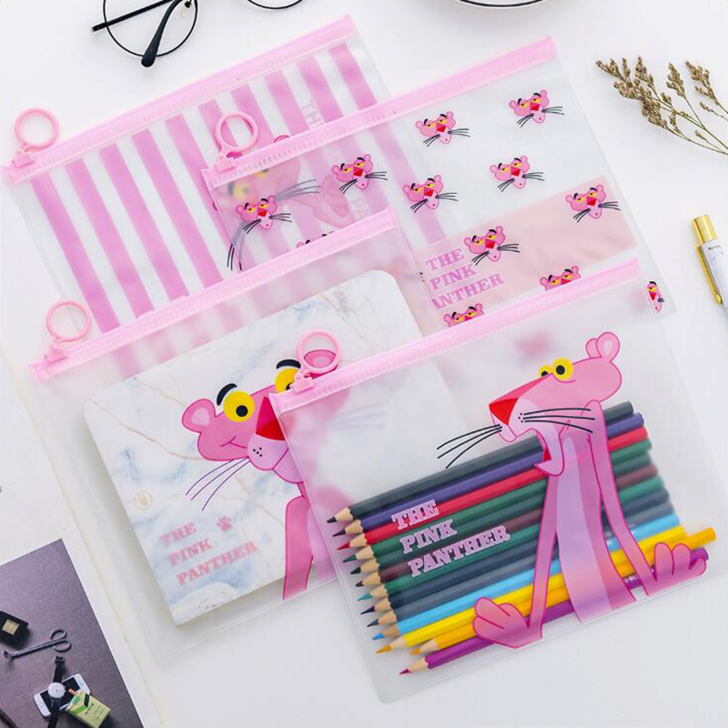 Pink Leopard Ring Pencil Case Office Stationery And School Supplies High Capacity Plastic Pencil Bag 1PCS