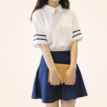c34b555fc8 Manga corta uniforme escolar japonés chica Sailor vestido rojo tibetano  azul Plaid falda Uniformes japonés trajes coreanos para niña