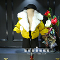 Южная Корея 2016 зимние Девушки Супер краев настоящие волосы короткие рукава Нагрудные хлопок хлеб пальто бесплатная доставка