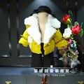 2016 de invierno de Corea del sur Niñas Súper ala pelo real de manga corta Solapa de pan de algodón escudo envío gratis