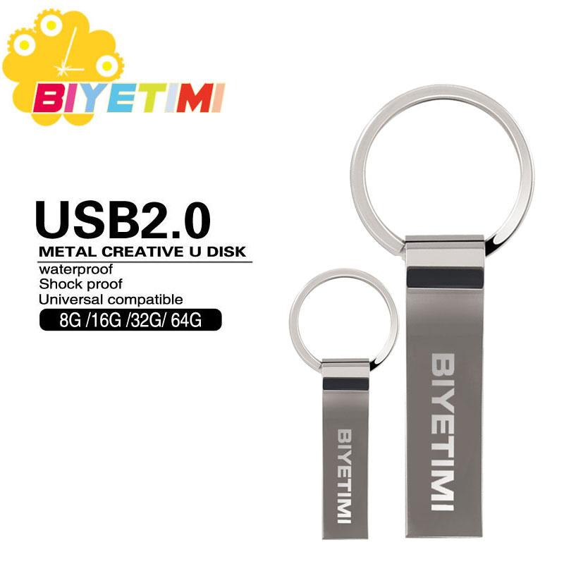 2016 Biyetimi USB Flash Drive 4GB 8GB 16GB 32GB 64GB Key Ring High Speed Pen Drive Memory USB Stick 2.0 Pendrive Flash Drive