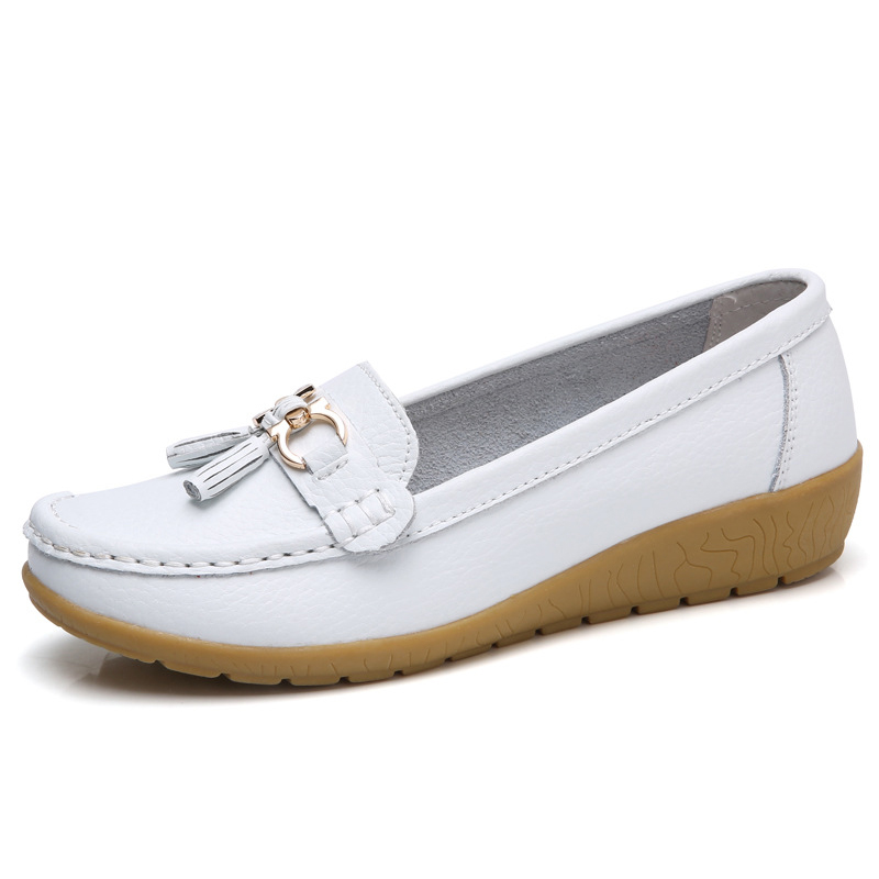 2018 Spring Autumn Shoes Woman Cow   Leather   Flats Women Slip On Women's Loafers Female Moccasins Shoe Large Size 35-44