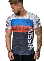 2018 New Mens Hipster Short Sleeve Russia Flag Printed Slim T Shirts Swag Tees Tops Fashion Urban Clothing