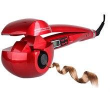 Nuevo LCD automático Anti-escalado rizador de pelo de hierro calentador rizador varita estilizadora herramientas de estilismo rizador de hierro rizador de cerámica espiral WXB