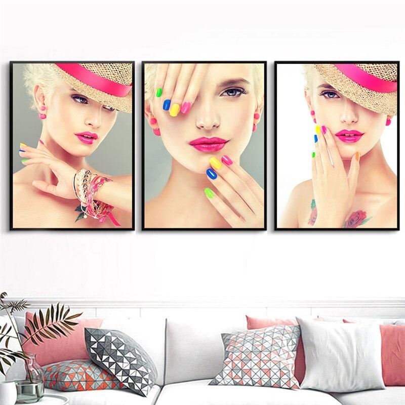 2 56 50 De Réduction Moderne Mode Femmes Beauté Nail Art Toile Peinture Affiche Imprime Photos Murales Pour Beauté Boutique Décoration De La Maison