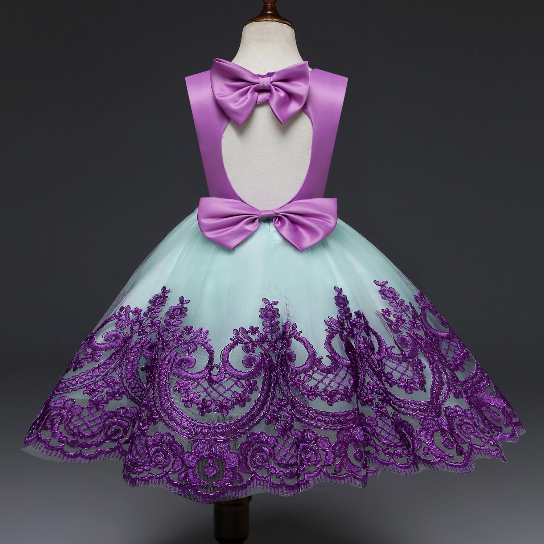 Nouveau élégant bébé filles fête anniversaire robe 1 2 3 4 5 ans violet fleur broderie évider robes enfants adolescents vêtements 2M43A