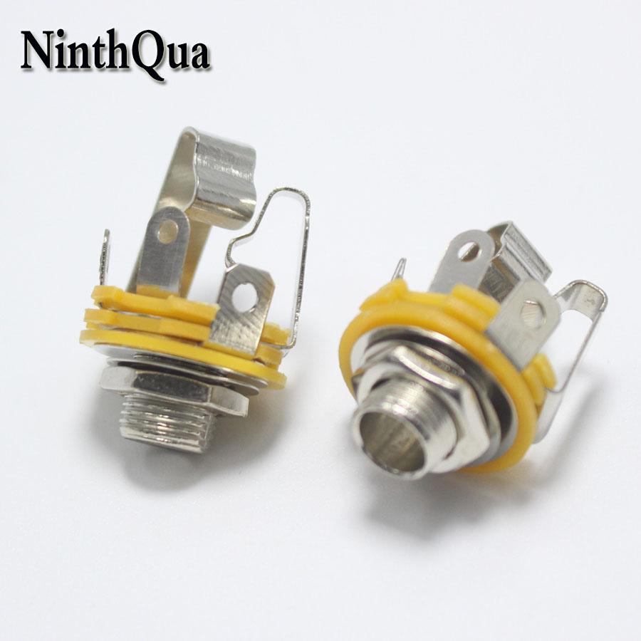 2pcs 6.35mm / 6.5mm 3 Pole Stereo Plug Jack Audio Female Connector 6.35 Welding Type Panel Socket DIY Parts