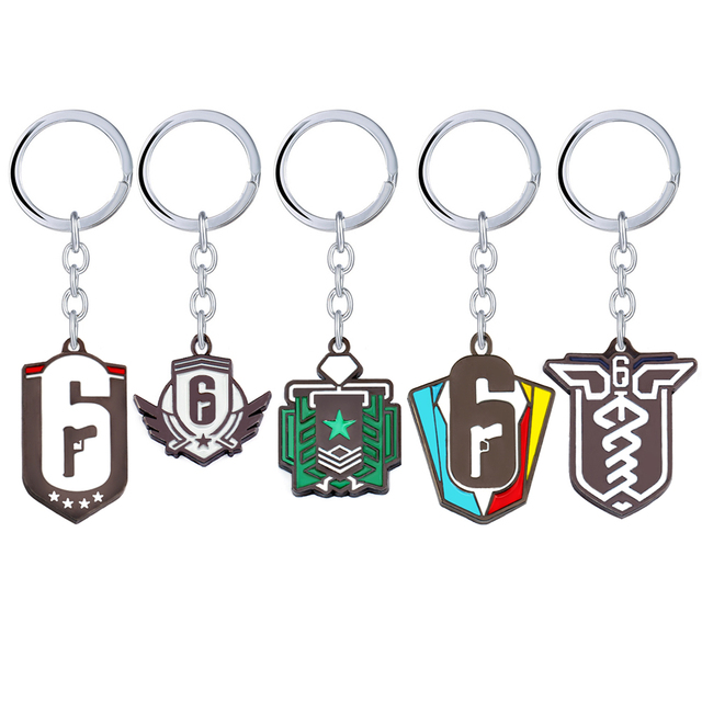 Game Rainbow Six Siege Key Chains for Men Women 6 Metal Keychain Male Anime Key Ring Holder Porte Clef Gift Jewelry 1