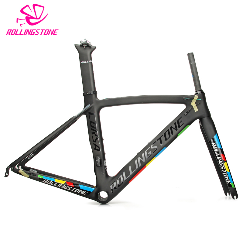 Rolling Stone Corsa Aerodynamic Road Carbon Frame Set Black Blue 46cm 49cm 52cm UCI Certified Road Bicycle Frame Bike Frame