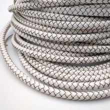 8mm White Genuine Bonded Leather Braided Cord Bracelet Strap RLG8M75-5