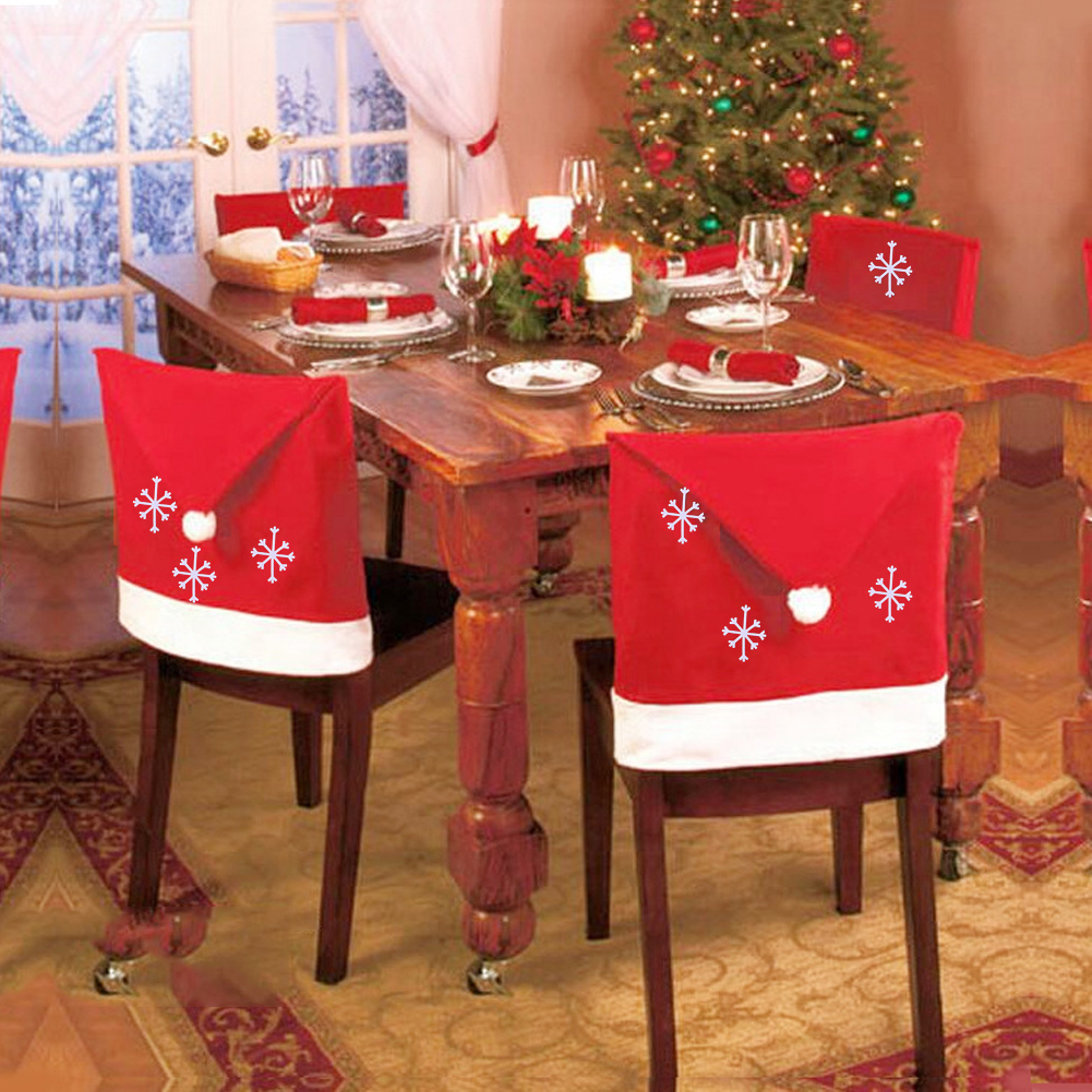 1pc Santa Claus Cap Chair Cover Christmas Dinner Table Non-Woven Hat Chair Cover Red Xmas Restaurant Home Decoration Ornaments