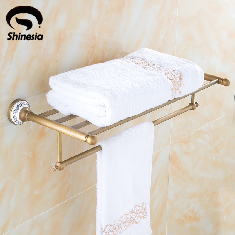 Solid Brass Antique Brass Bathroom Towel Rack Towel Bar Towel Shelf Bathroom Towel Holder Wall Mount whole brass blackend antique ceramic bath towel rack bathroom towel shelf bathroom towel holder antique black double towel shelf