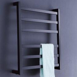 شحن مجاني الفولاذ المقاوم للصدأ الكهربائية الحائط منشفة دفئا ، اكسسوارات الحمام رفوف ، أسود قضيب منشفة مُسخن HZ-942B