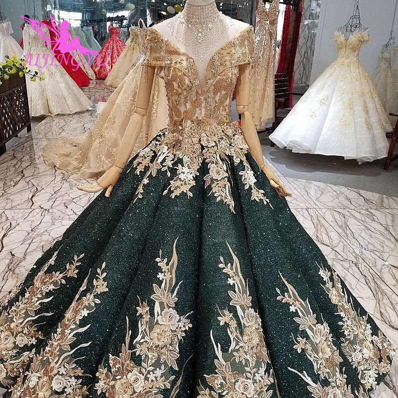 AIJINGYU Wedding Dresses Dubai Sleeve Gowns Bolero Luxury Ivory Long Boho Lace For Sale Sexy Gown 2019 Wedding Decorations
