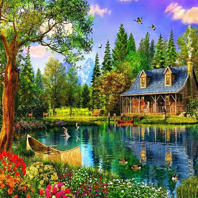 Сельских Lakeside кабина DIY алмазов картина Вышивка Алмазная мозаика фотографии Стразы пейзаж Наклейки на стену Домашний Декор