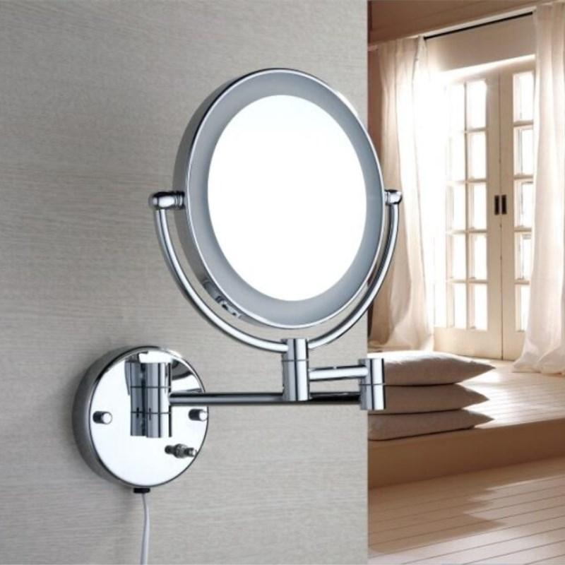 Bathroom Chrome Wall Mounted 8 inch Brass 3X 1X Magnifying Mirror LED Light Folding Dressing Mirror