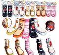 Envío gratis 3 unids/lote 100% algodón + suela de cuero Bebé Calcetines animales Zapatos de Bebé antideslizante Calcetines de Senderismo Al Aire Libre, niños Socking