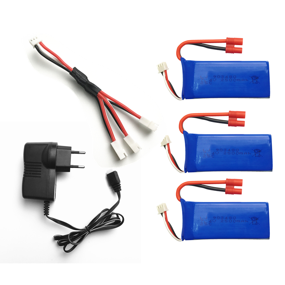 7.4v 2500MAH For Syma X8W X8G X8HC X8HW X8HG parts charger battery RC Quadcopter parts Charger+1 to 3 wire+ 3 battery
