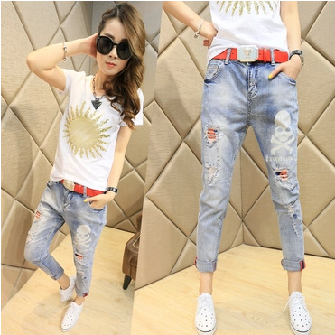 Spring 2016 couture fashion jeans female skull slim feet Haren pants pants nine