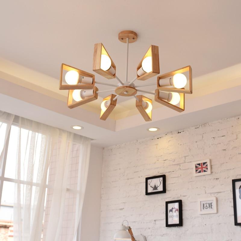 Lustres de sala de estar restaurante madeira maciça criativo Nordic - Iluminação interior - Foto 6