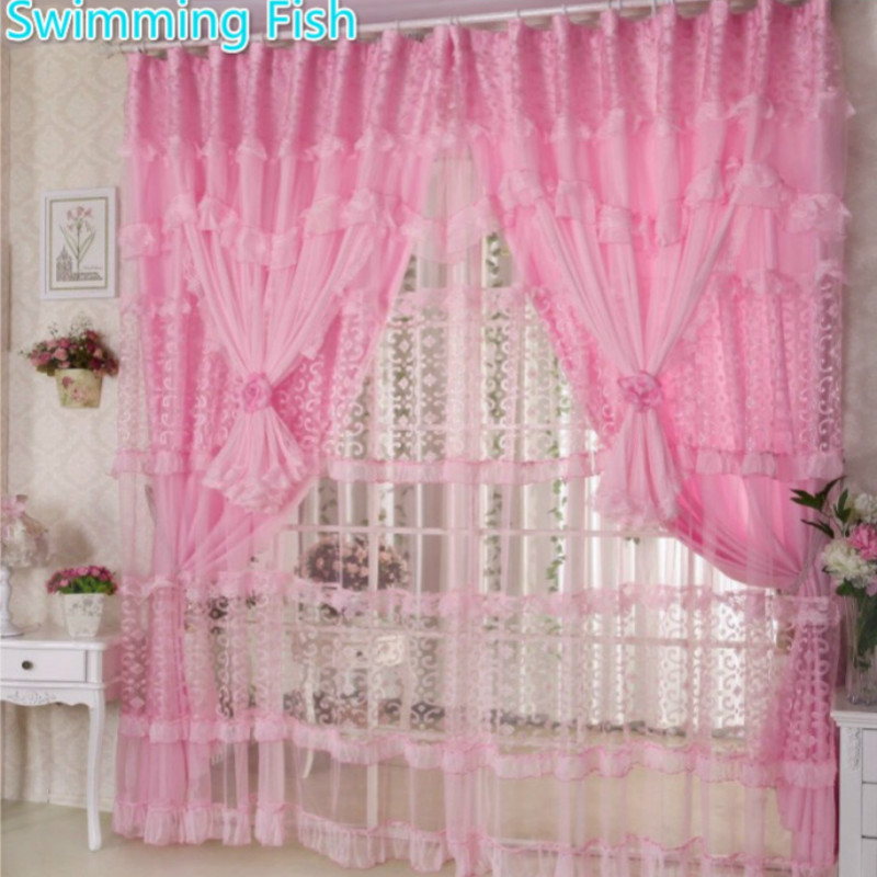 Handmade Lace Curtains For Girls Room Pink purple Lace Sheer Curtains Children Bedroom 3 Layers Window