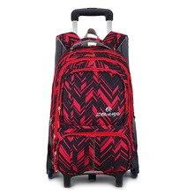 09b927640b933 للماء حقيبة ظهر مزودة بعربة تروللي الفتيان الفتيات الأطفال حقيبة مدرسية  عجلات حقيبة سفر للأمتعة على ظهره الاطفال المتداول انفصال.