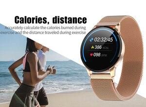 Image 3 - 2019 nouveau Fitness montre intelligente femmes en cours dexécution moniteur de fréquence cardiaque Bluetooth podomètre tactile Intelligent sport Smartwatch femmes hommes