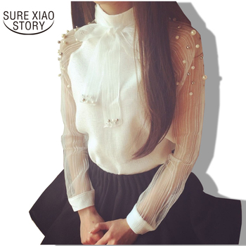 Pearl White chiffon blouse casual shirt women blouses tops and blouses blusas
