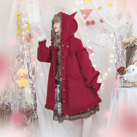 Autumn and winter vintage japanese sweet lolita overcoat falbala love button victorian coat kawaii girl gothic lolita coat loli