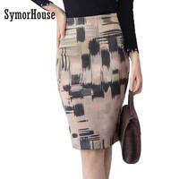 Hot Sale 2017 Ladies Suede Knee Length Pencil Skirts Bohemian Asymmetrical Print High Waist Female Fashion