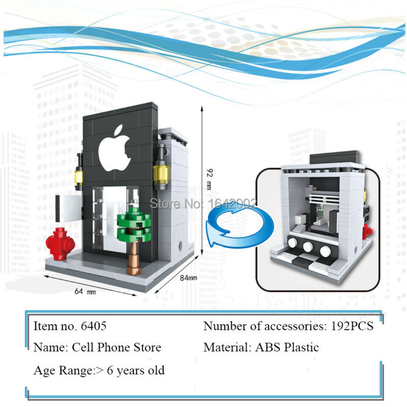 New City Series Mini Street Model Lepin Apple Store Building Blocks Toys for Kids Educational Birthday Christmas gifts