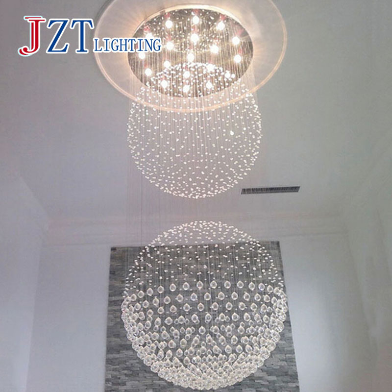 T Large Luxury Crystal Circular Ceiling Light For Hotel Engineering Penthouse Floor Hall ...