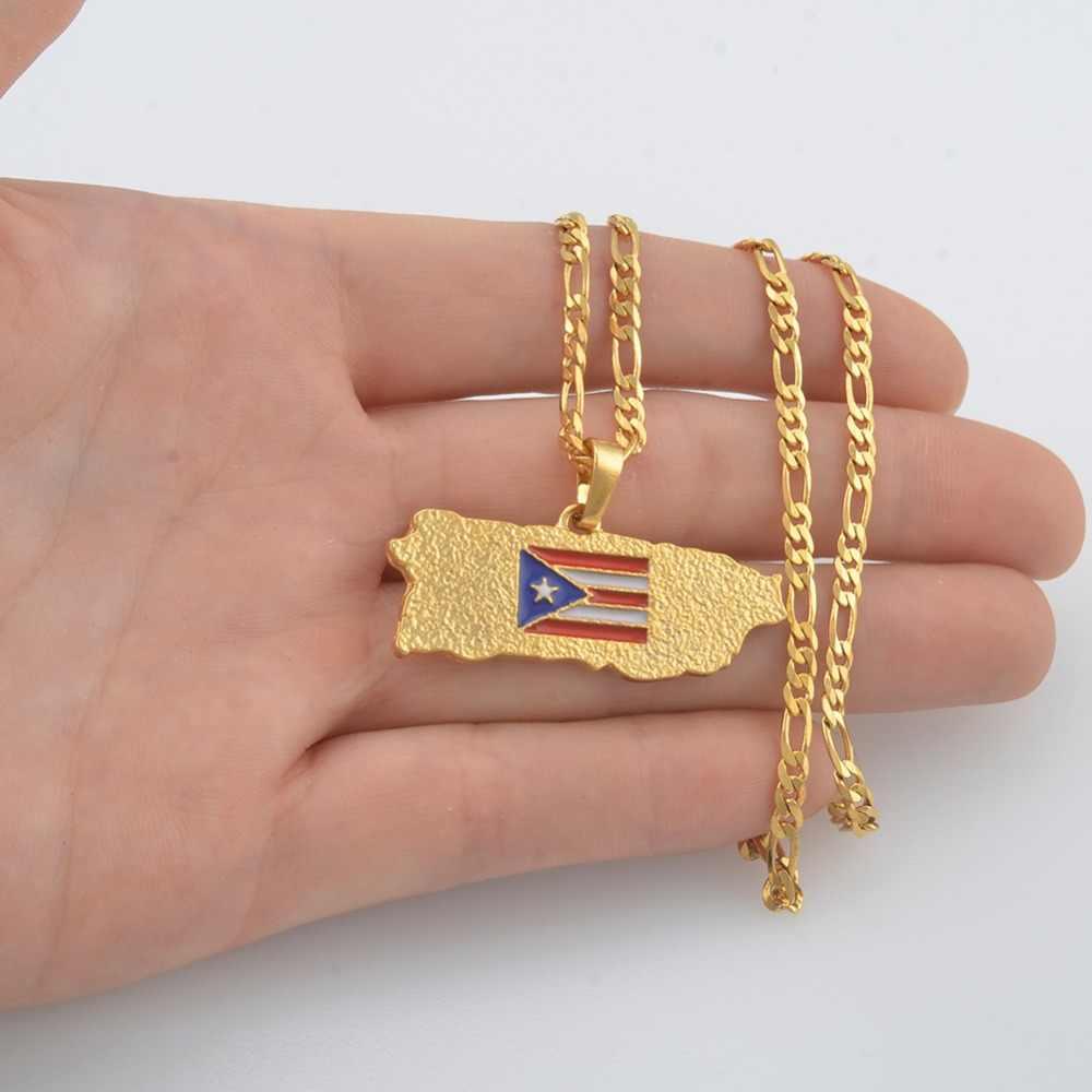 Anniyo portoryko mapa wisiorek flaga naszyjniki dla kobiet/mężczyzn złoty kolor PR Puerto Ricans biżuteria prezenty #117006