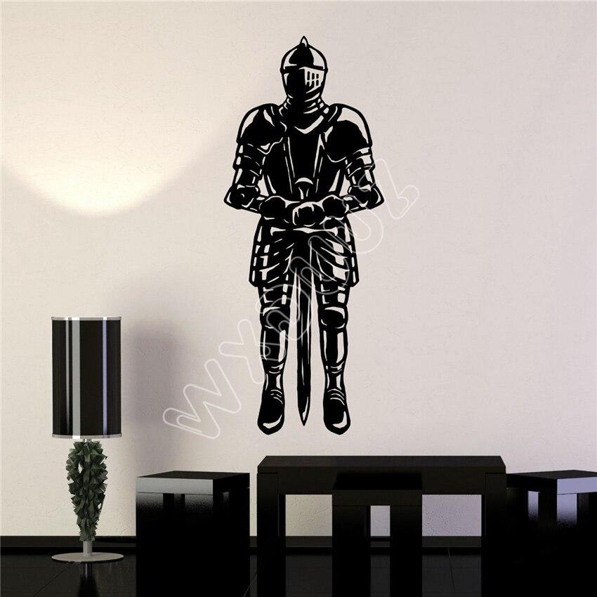 Autocollants Muraux Cheval soldats armée chevalier épée Garçons Chambre Art Decal vinyle chambre