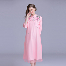 019ee5de31c19 Floral Embroidery Women Dress Cheongsam Elegant Autumn Mandarin Collar  Dresses Female Pink Yellow Chinese Style Dress