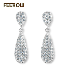 FEEROW Platinum Plated Luxury Big Water-drop Jewelry Women Tiny Cubic Zircon Dangle Earrings For Anniversary FWEP260