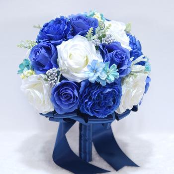 Królewski niebieski bukiet ślubny dla panny młodej bukiet ślubny kwiaty ślubne bukiety ślubne bukiet ślubny akcesoria ślubne tanie i dobre opinie LBKKC DRESSES 29cm 25cm Poliester