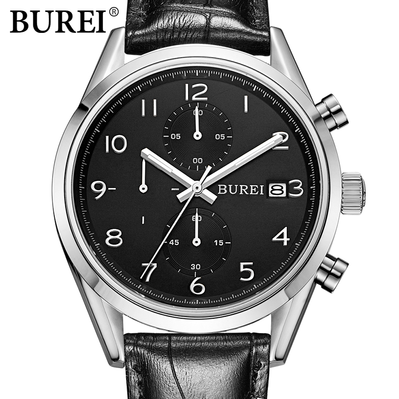 BUREI multifunctional Business Watch Men Fashion Leather Quartz Watch Top Brand Sport Wristwatch Male dress clock hours Relogio mens watch top luxury brand fashion hollow clock male casual sport wristwatch men pirate skull style quartz watch reloj homber